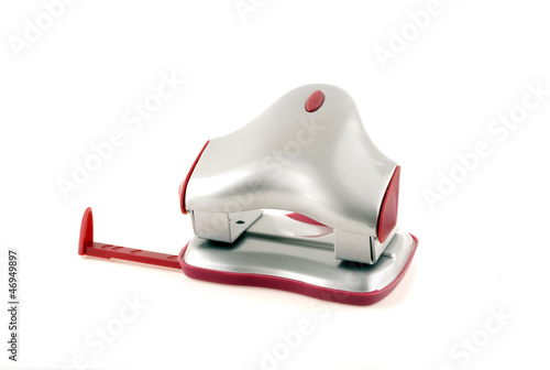 metallic office hole punch  on a white background