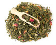 aromatic green dry tea with fruits and petals, isolated on