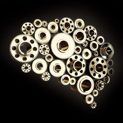 Gears in the shape of a human brain slightly angled