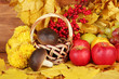 Autumnal composition with yellow leaves, apples and mushrooms