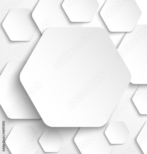 Paper hexagon banner with drop shadows