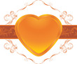 Shining heart on the ornamental frame. Decorative element