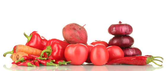 fresh red vegetables isolated on white