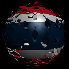 Thailand flag sphere breaking apart illustration