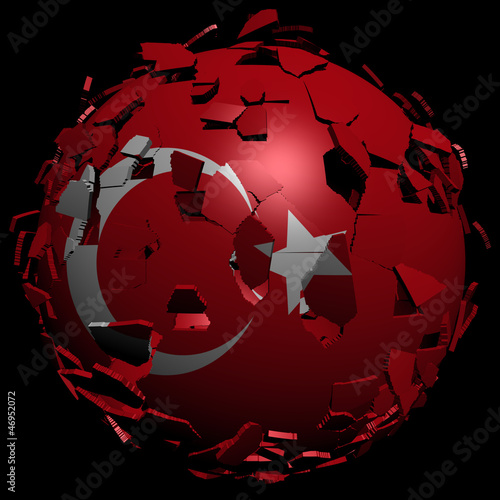 Turkey flag sphere breaking apart illustration