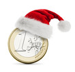 Santa hat on the coin one euro