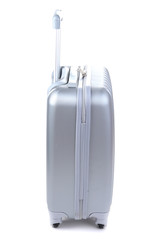 Silver suitcase isolated on white