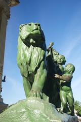 lion and boys monument in Madrid