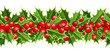 Horizontal vector seamless background with Christmas holly.