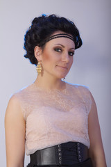 Woman With Classic Hairstyle And Makeup