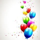 Fototapety Modern birthday background with colorful balloons
