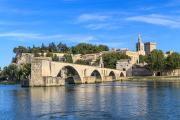 Avignon Bridge with Popes Palace, Pont Saint-Bénezet, Provence,