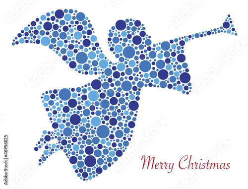 Merry Christmas Angel Silhouette in Dots