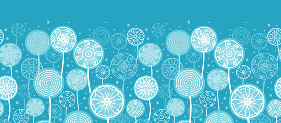 Vector Abstract Dandelion Plants Horizontal Seamless Pattern