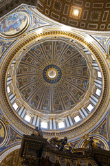 Inside view of the dome of Saint Peter's basilica, Vatican City