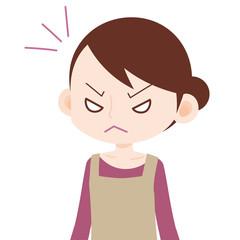 エプロンの女性 激怒