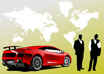 Automobile show with concept-car and men. Vector illustration