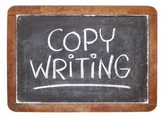 copywriting on blackboard