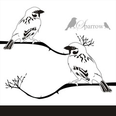 Sparrow bird and stick Vector