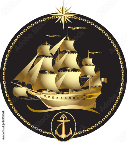 Gold sailing ship