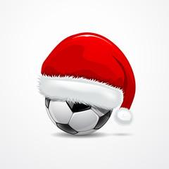 Santa hat on soccer ball, vector illustration