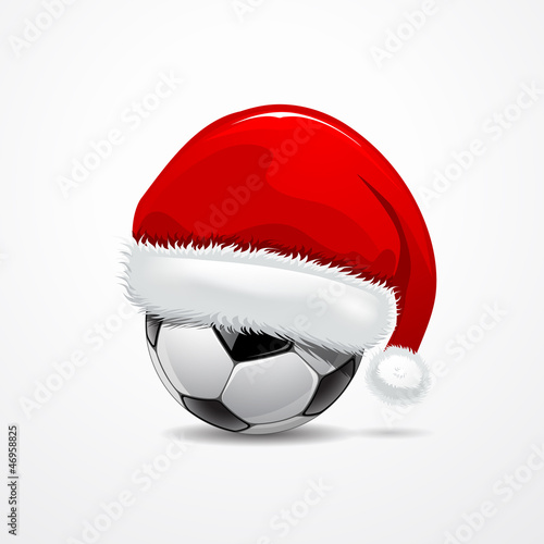 Santa hat on soccer ball, vector illustration