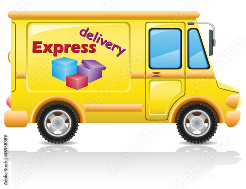 car express delivery of mail and parcels illustration