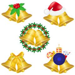 christmas bells set icons illustration