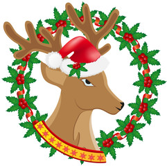 christmas deer wreath of holly berries illustration