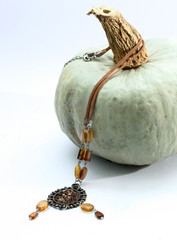 fashion  necklace on pumpkin