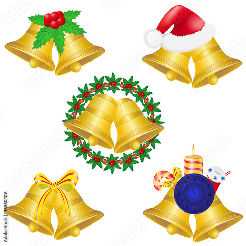 christmas bells set icons illustration