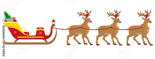 christmassanta sleigh with reindeer illustration