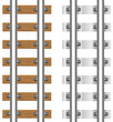 rails with concrete and wooden sleepers illustration