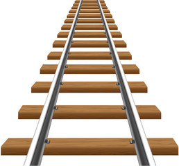 rails with wooden sleepers illustration