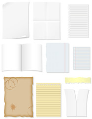 set blank sheets of paper for design illustration