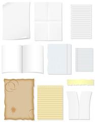 set blank sheets of paper for design illustration