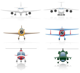 set icons airplane and helicopter illustration