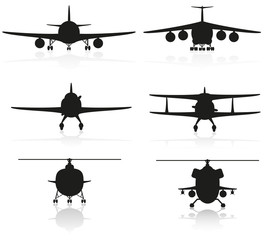 set icons airplane silhouette and helicopter illustration