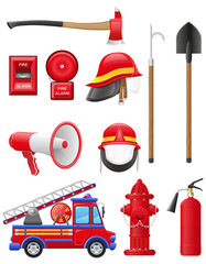 set icons of firefighting equipment illustration