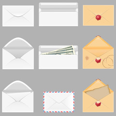 set icons paper envelopes illustration