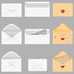 set icons paper envelopes illustration