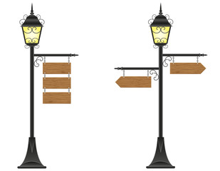 wooden boards signs hanging  on a streetlight illustration
