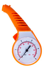 orange automobile manometer on a white background.