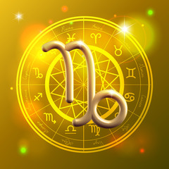 Zodiac Capricorn golden sign
