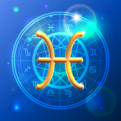 Zodiac Pisces golden sign