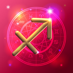 Zodiac Sagittarius golden sign