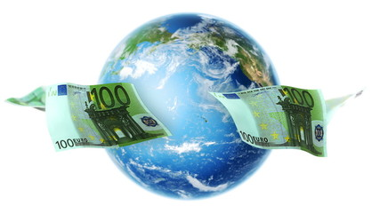 EUR Banknotes Around Earth on White (Loop)