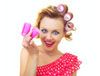 Pin-Up Girl holding curlers, similar in my gallery