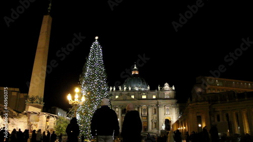 Nativity and Christmas tree in front of St. Peter's Basilica