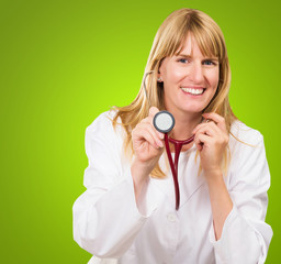 Happy Doctor Holding Stethoscope